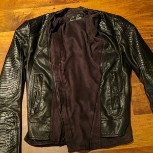 Pleather tailored jacket